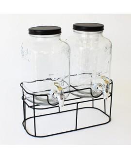 מתקן שתיה זכוכית כפול עם ברז