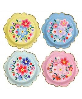 צלחות פרחים גדולות - Meri Meri