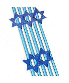 10 קשים מנייר כחול לבן בעיטור מגן דוד