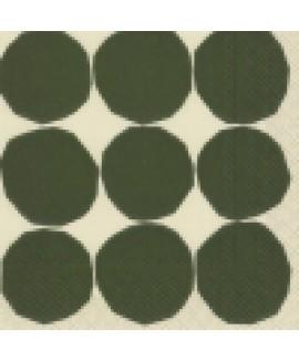 מפיות נייר עיגולים ירוקים על רקע קרם