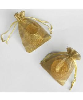 שקית אורגנזה זהב עם 3 מטבעות שוקולד לחנוכה