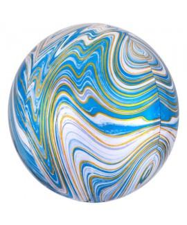 בלון הליום כדור שיש תכלת לבן זהב