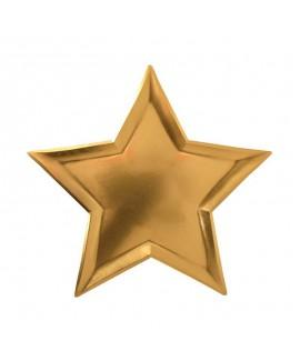 צלחות נייר כוכב זהב