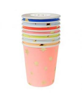 כוסות צבעוניות עם הטבעת כוכבים - Meri Meri