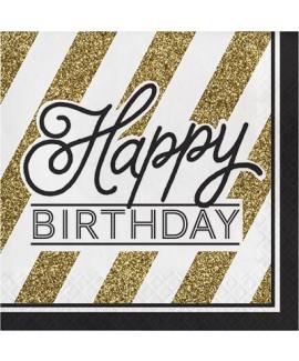מפיות נייר שחור זהב בכיתוב Happy Birthday