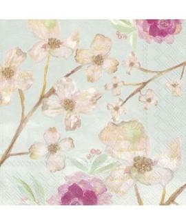 מפיות פרחים ברקע מנטה
