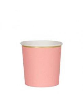 כוסות ורודות נמוכות עם עיטור זהב - Meri Meri