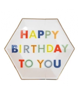 צלחות נייר נאון קטנות Happy Birthday - Meri Meri