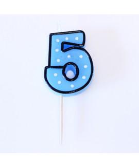 נר הספרה חמש  - כחול