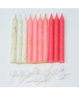 נרות נוצצים פוקסיה ורוד לבן