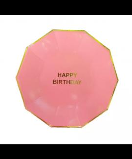 צלחות גדולות ורודות happy birthday