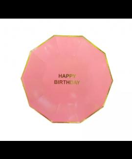 צלחות קטנות ורודות happy birthday