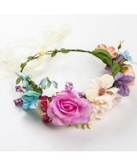 זר פרחים לראש- ורוד, קרם וסגול