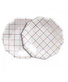 צלחות נייר לבנות קטנות עם משבצות רוז גולד