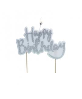Happy Birthday נר כסוף
