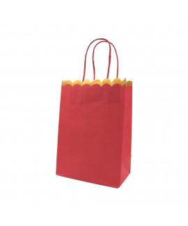 שקית נייר אדומה עם שוליים בזהב