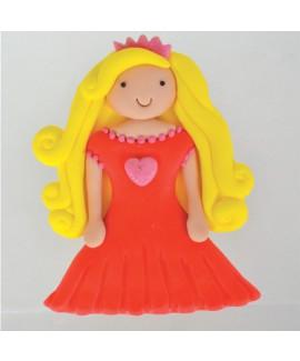 קישוט בצק סוכר - נסיכה בשמלה אדומה