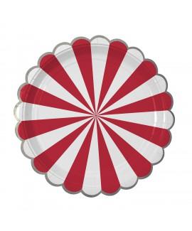 צלחות נייר גדולות אדום לבן - Meri Meri