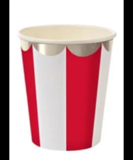 כוסות גדולות אדום לבן עם עיטור כסף - Meri Meri