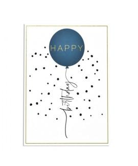 כרטיס ברכה יום הולדת - בלון כחול