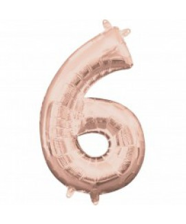 בלון ענק ספרה 6 רוז גולד