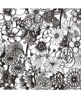 מפיות נייר פרחים שחור לבן