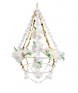 שנדליר פרחים לבנים מנייר - Meri Meri