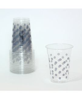 כוסות שקופות עם נקודות כסף