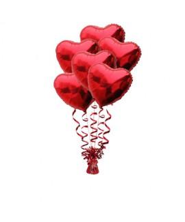 זר בלונים 6 לבבות אדומים