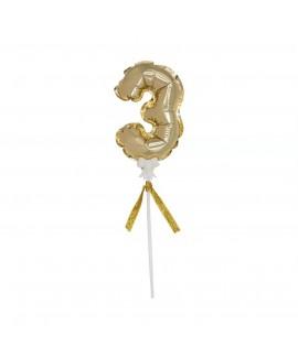 מיני בלון ספרה 3 זהב