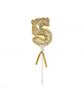 מיני בלון ספרה 5 זהב