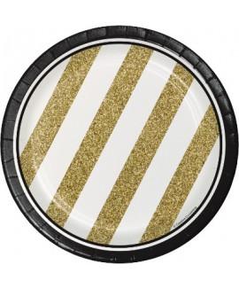 צלחות נייר קטנות שחור זהב