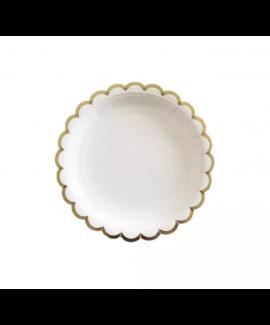 צלחות נייר לבנות קטנות שוליים זהב
