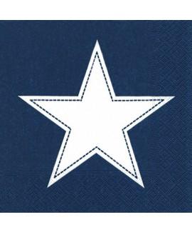 מפיות כוכב לבן על רקע כחול