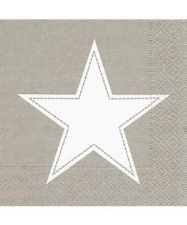 מפיות כוכב לבן על רקע חום