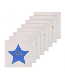 מפיות לבנות גדולות עם הטבעות כוכב צבעוני - Meri Meri