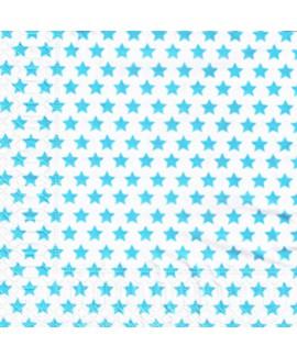 מפיות כוכבים - כוכבים טורקיז על לבן