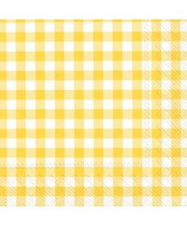 מפיות משבצות צהוב לבן