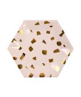 צלחות טראצו ורוד זהב קטנות Meri Meri