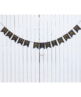 כרזה HAPPY BIRTHDAY שחורה