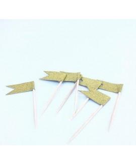 דגלוני נייר על קיסם לקישוט מאפים - זהב מנצנץ