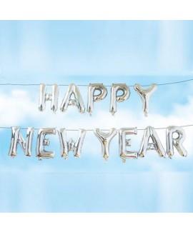 שרשרת בלוני כסף Happy New Year