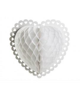 כדור נייר לב מעוצב לבן - גדול