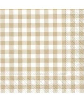 מפיות נייר משבצות קרם לבן