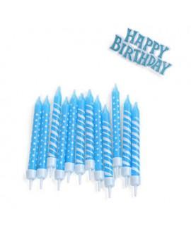 נרות בצבע כחול עם שלט Happy birthday