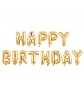 בלוני אותיות Happy Birthday זהב