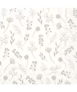 מפיות נייר לבנות בעיטור פרחים עדינים