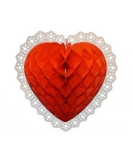 כדור נייר לב מעוצב אדום
