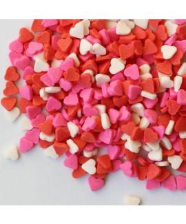 סוכריות לעוגה מיני לב צבעוני ורוד לבן אדום
