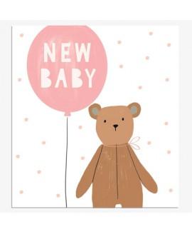 כרטיס ברכה להולדת תינוק - בלון ורוד